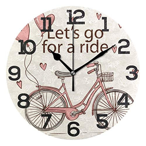 Dozili Vintage Let's Go for Ride Round Wall Clock Arabic Numerals Design Non Ticking Wall Clock Large for Bedrooms,Living Room,Bathroom (Universal Round Wood Clock)