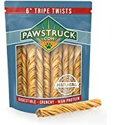 """6"""" Tripe for Dogs, Extra Long Rawhide Free Dog Chews, Digestible Single Ingredient Natural Dog Tr..."""