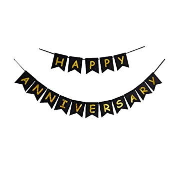 amazon com happy anniversary banner black gold letters bunting