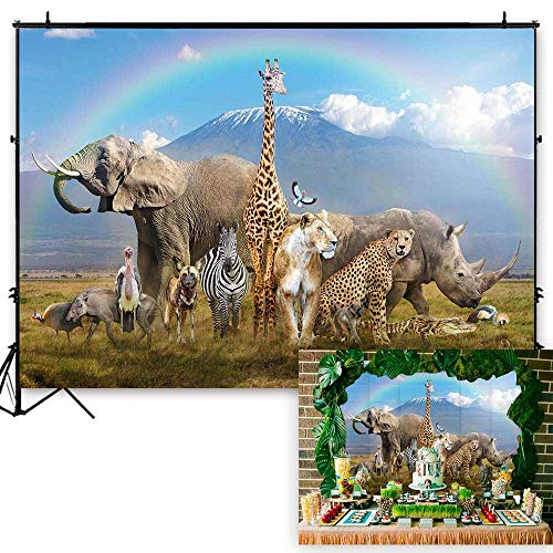 Funnytree 7x5ft African Safari Scenic Backdrop Realistic Wild Animals Jungle Forest Photography Background Summer Tropical Rainbow Baby Shower Birthday Party Banner Decorations Photo Studio Booth]()