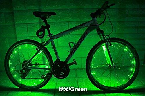 HKBAYI 2pcs/lot 20LED Motorcycle Cycling Bike Bicycle Wheels Spoke Flash Light Lamp Cuddly Cool Warning Decorative LED Safety Lights (Green) (Bike Wheels 20 Inch)