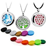 3PCS Aromatherapy Essential Oil Diffuser Locket Pandent Necklaces Mixed Style Tree of Life-Reindeer-Celtic Diffuser Necklace +12 Color Felt Pads
