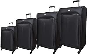 Track Luggage Trolley Bags 4 Pcs Set, Black