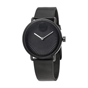 294c83532 Amazon.com: Movado Edge Black Dial Leather Strap 40 mm Mens Watch ...