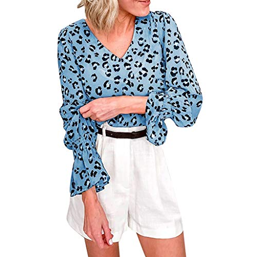 TOTOD Women Shirt Tops Chiffon Leopard Dot Print Fashion Flare Long Sleeve V-Neck Loose Ladies Blouse(Blue,XL)