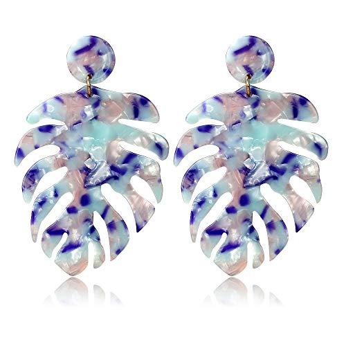 - Acrylic Earrings for Women Drop Dangle Leaf Earrings Resin Minimalist Bohemian Statement Jewelry (Acrylic earrings Long Pearlescent Blue)
