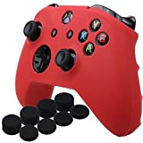 YoRHa Silicone Cover Skin Case for Microsoft Xbox One X & Xbox One S controller x 1(red) With Pro thumb grips 8 pieces