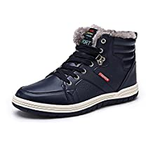 Men's Snow Boots High Top Shoes Fully Fur Lining Leather Sport Shoes Winter Sneakers for Outdoor/Sport /Casual /Daily