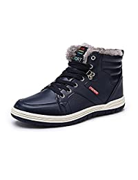Wodun Men's Snow Boots Winter Shoes Fully Fur Lining Ankle Boots for Outdoor/Sports/Snow/Casual/Dairy