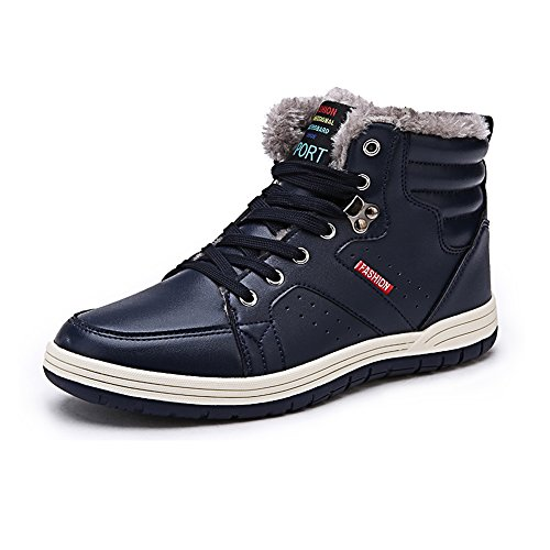 Wodun Men's Winter Fully Fur Lining Warm Ankle Boots Lace Up Leather Sport Snow Sneaker Shoes-43navy