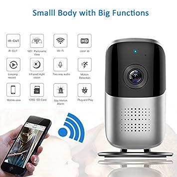 Cámara de vigilancia HD 1920 * 1080P Wifi Gran Angular 180 grados cámara espía monitor remoto inalámbrico con audio bidireccional, detección de movimiento, ...