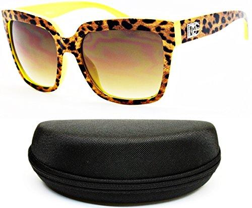 D5010-cc Designer Eyewear Rectangular Sunglasses (O1901B LeoPard/Neon - Neon Printed Sunglasses