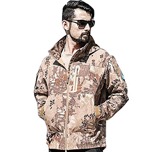 Camouflage Top Outdoor Training Men and Women Waterproof Windproof Tactical Jacket Plus Velvet Camo Outdoor Outing Camping Rock Climbing Riding Military Equipment ( color : C , Size : Xl(80kg-90kg) )
