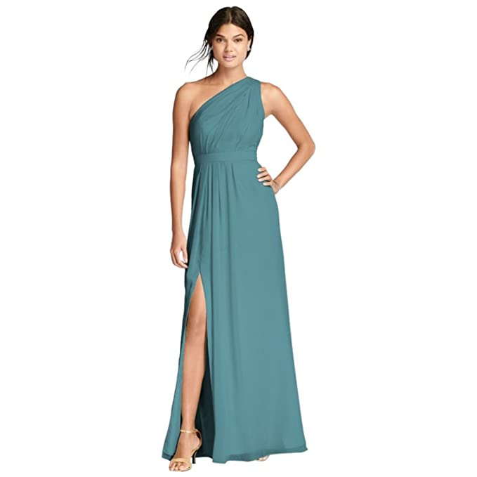 d75e1d88b81 Long One-Shoulder Crinkle Chiffon Bridesmaid Dress Style F18055 ...