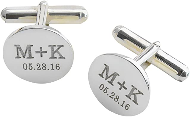 Personalized Initials And Date Cufflinks Gift Anniversary Gift Cufflinks Wedding Gift Idea Personalized Initial And Date Gift Idea