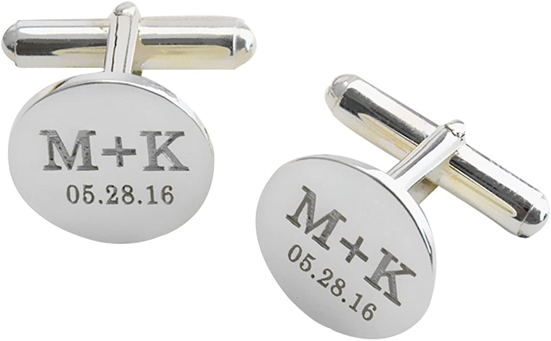 Classic O Cufflinks Silver Tone Initial Alaphabet Cut Letters O Cuff Links Groom Father Bride Wedding Anniversary Father\u2019s Day Gift Box