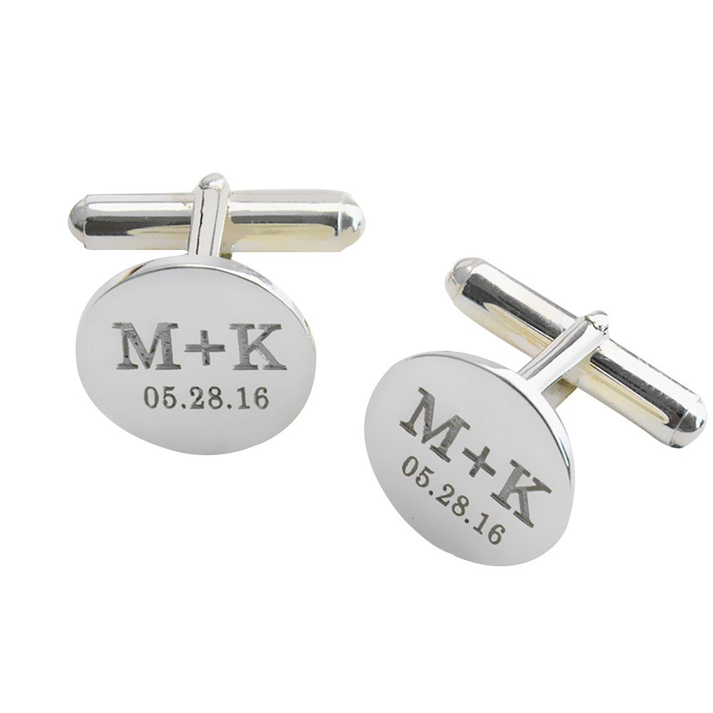 LAOFU Personalized 925 Sterling Silver Wedding Initials Cufflinks - Engraved With Your Special Date and Initials
