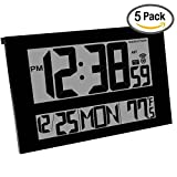 MARATHON CL030025BK/5 Commercial Grade Jumbo Atomic Wall Clock with 6 Time Zones, Indoor Temperature & Date, Black (5 Pack)
