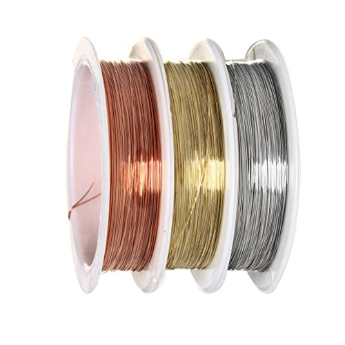 Pengxiaomei 3 Pieces 0.3 mm Beading Wire Roll, Bare Copper Wire Jewelry Beading Wire Rolls Tarnish Resistant Copper Wire