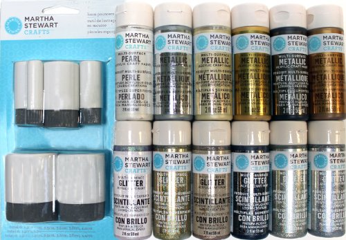 Martha Stewart Crafts Multi-Surface Metallic and Glitter Acrylic Craft Paint Set, PROMO857 (12 Colors) (Metallic Martha Stewart Paint)