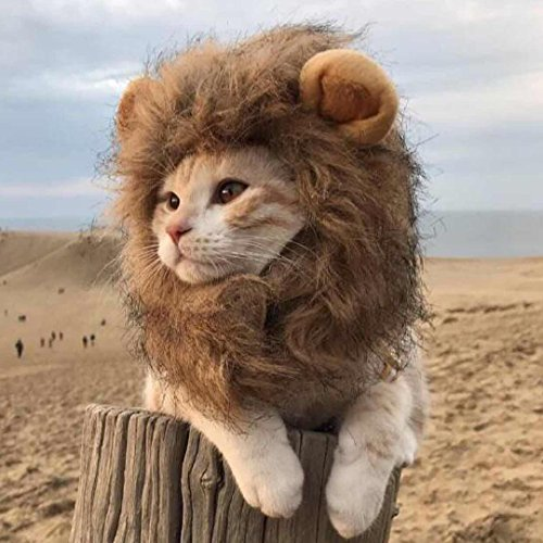 Lion Mane Wig for Dog and Cat Costume Pet Adjustable Washable Comfortable Fancy Lion Hair Dog Clothes Dress for Halloween Christmas Easter Festival Party
