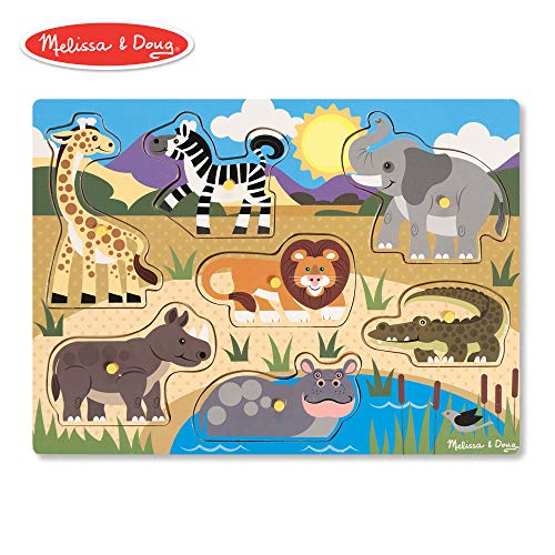 (Melissa & Doug Safari Peg Puzzle (Colorful Animal Artwork, Extra-Thick Wooden Construction, 7 Pieces))