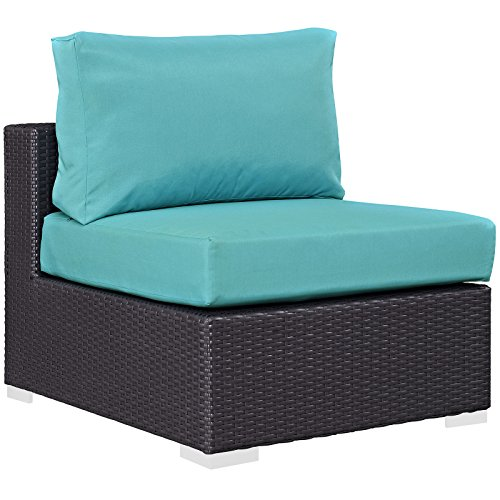 Modway Convene Wicker Rattan Outdoor Patio Sectional Sofa Armless Chair in Espresso Turquoise
