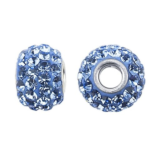 Frolic Sterling Silver 8mm Roundel Bead with Light Sapphire Crystals (Crystal Roundels Light)