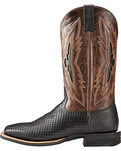 Ariat Hombres Implacable Top Notch Western Bota Square Toe - 10023205 Negro Serpent / Wildhorse Chocolate