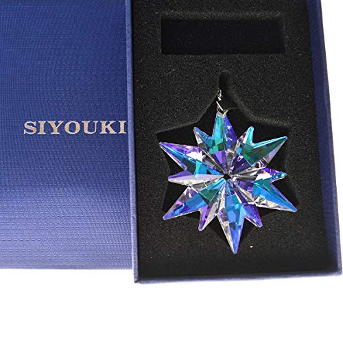 SIYOUKI 2018 Crystal Snowflake Pendant Annual Star Ornament Christmas Decoration Home Collection, 3in (AB)