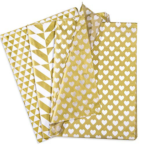 Whaline 60 Sheets Metallic Gold Tissue Papers, Folded Gift Wrap Paper Party Decoration Gift Wrapping Accessory Heart Triangle Square Patterns (20 Sheets Each of 3 Patterns, 50 x 70 ()