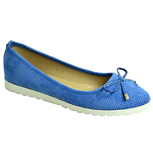 Brand New Womens Ladies Girls Dolly Pumps Flats Bow Ballerina Ballet Slip On Summer Shoes Size Uk 3 4 5 6 7 8 Blue qFHWmz