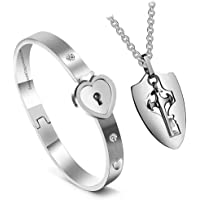 Impression Newest Design Heart Lock and Key Stainless Steel Couple Bracelet Pendant Necklace Set for Couples Men and Women (Silver)