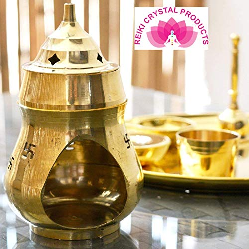 - Reiki Crystal Products Vastu/Feng Shui Brass Aroma Incense Burner Camphor Lamp/Kapur Lamp/Magic Lamp/Oil Burner/Oil Diffuser