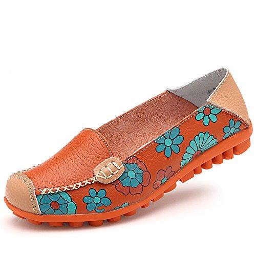 Voor Vrouwen Bloemenleren Instappers Van Leer Oranje