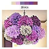 Paper Pom Poms, MerryNine Tissue Paper Poms 20pcs 8 10 14 Inch Ivory Pink Purple Paper Flowers Garland for Engagement Wedding Party Xmas Decoration (Purple Shades Set)