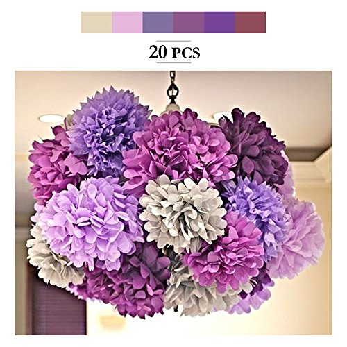 Paper Pom Poms, MerryNine Tissue Paper Poms 20pcs 8 10 14 Inch Ivory Pink Purple Paper Flowers Garland for Engagement Wedding Party Xmas Decoration (Purple Shades Set) by MerryNine