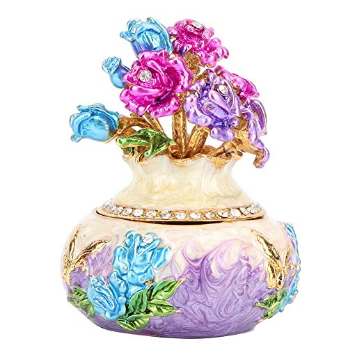 Wal front Vase Shape Hand-Crafted Alloy Jewelry Organizer Trinket Box Nice Gift Vintage Style Jewelry Box Art Craft Decoration (Purple)