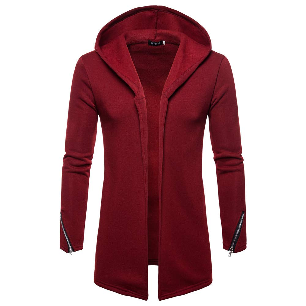 Clearance Forthery Men's Trench Coat with Hood Winter Long Zipper Jacket Overcoat Cardigan(Wine Red, US Size L = Tag XL)