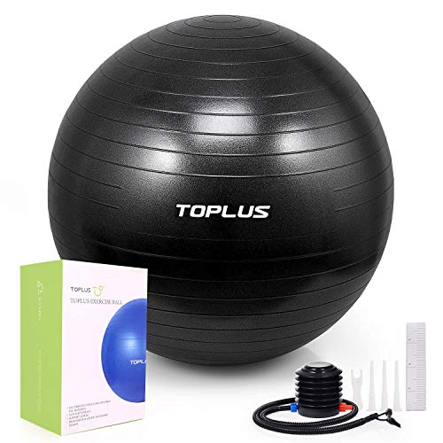 TOPLUS Exercise Ball Multiple Sizes Thick Yoga Ball Chair for Fitness, Stability, Balance, Pilates – Anti Burst Supports 2200lbs – Includes Quick Pump Professional Guide