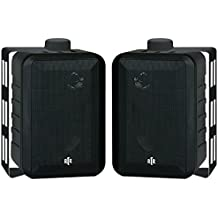BIC America RTRV44-2 3-Way Speakers Pair Indoor/Outdoor Black RtR Series Consumer Electronics