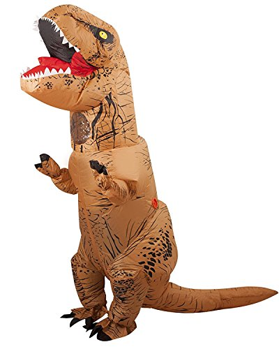 Kids Inflatable Costumes (Halloween Inflatable T-Rex Dinosaur Dress Up Funny Simulation Luxury Cosplay Costume Suit (Child Size, Brown))