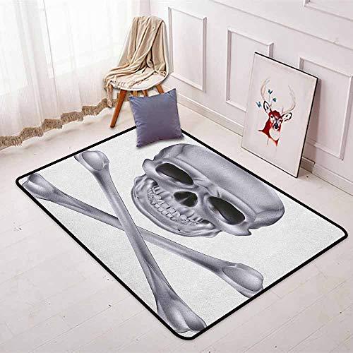 Grey Non-Slip Absorbent Carpet Vivid Skull and Crossed Bones Dangerous Scary Dead Skeleton Evil Face Halloween Theme for Floor Carpets W47.2 x L59 Inch Dimgray -