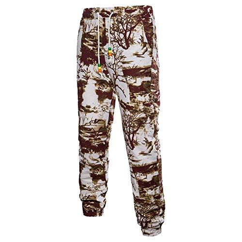 Con Floreale Lunghi Sportivi color Mode Marca Jogging Pantaloni 2 M Estivi Stampa Casual Da Di Allenamento White In 3d Lino Size SqwY7Ex4