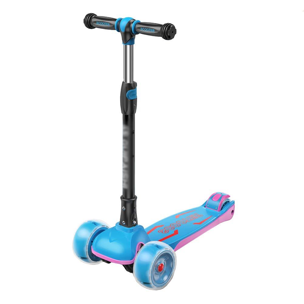 スクーター 子供のためのキックスクーター、調整可能なハンドルグリップ三輪車リアブレーキ付き、アウトドアワイドペダル三輪車 (色 : Pink) B07KY3Q9CQ 青 青