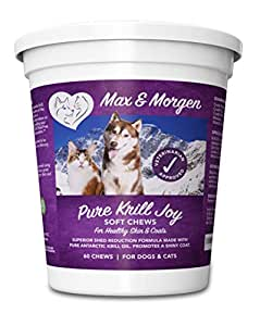 Pure Krill Joy, Antarctic Krill Oil Soft Chews For Dogs, Rich in Omega 3 and Antioxidants, Unique Shed Reducing Formula, Improves Skin and Coat, Low Allergen, Made In The USA, 60 Soft Chews.