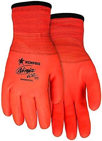Memphis MCR Safety N9690FCO Memphis Ninja Ice Fully Coated Orange 15 Gauge orange nylon Size Medium 1-Pair