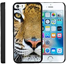 TurtleArmor | Apple iPhone SE Case | iPhone 5/5s Case [Slim Duo] Slim Compact Hard Clip On Case Grip Matte Cover on Black Animal Design - Tiger Stare