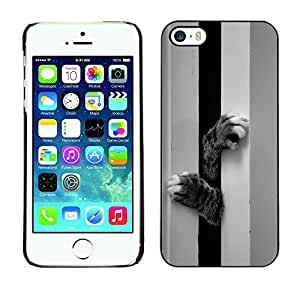All Phone Most Case / Hard PC Metal piece Shell Slim Cover Protective Case Carcasa Funda Caso de protección para Apple Iphone 5 / 5S Cat Kitten Cute Paw Black White Pet