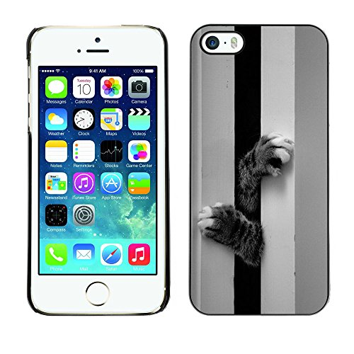 Paccase / Housse Coque Étui de protection pour - Kitten Cat Paws Cute Black White Pet - Apple Iphone 5 / 5S